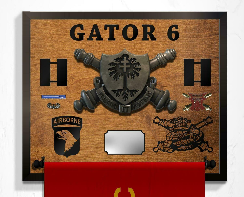 "Gator 3-320th FA Guidon Hanging Plaque - 25.5"" x 21"""