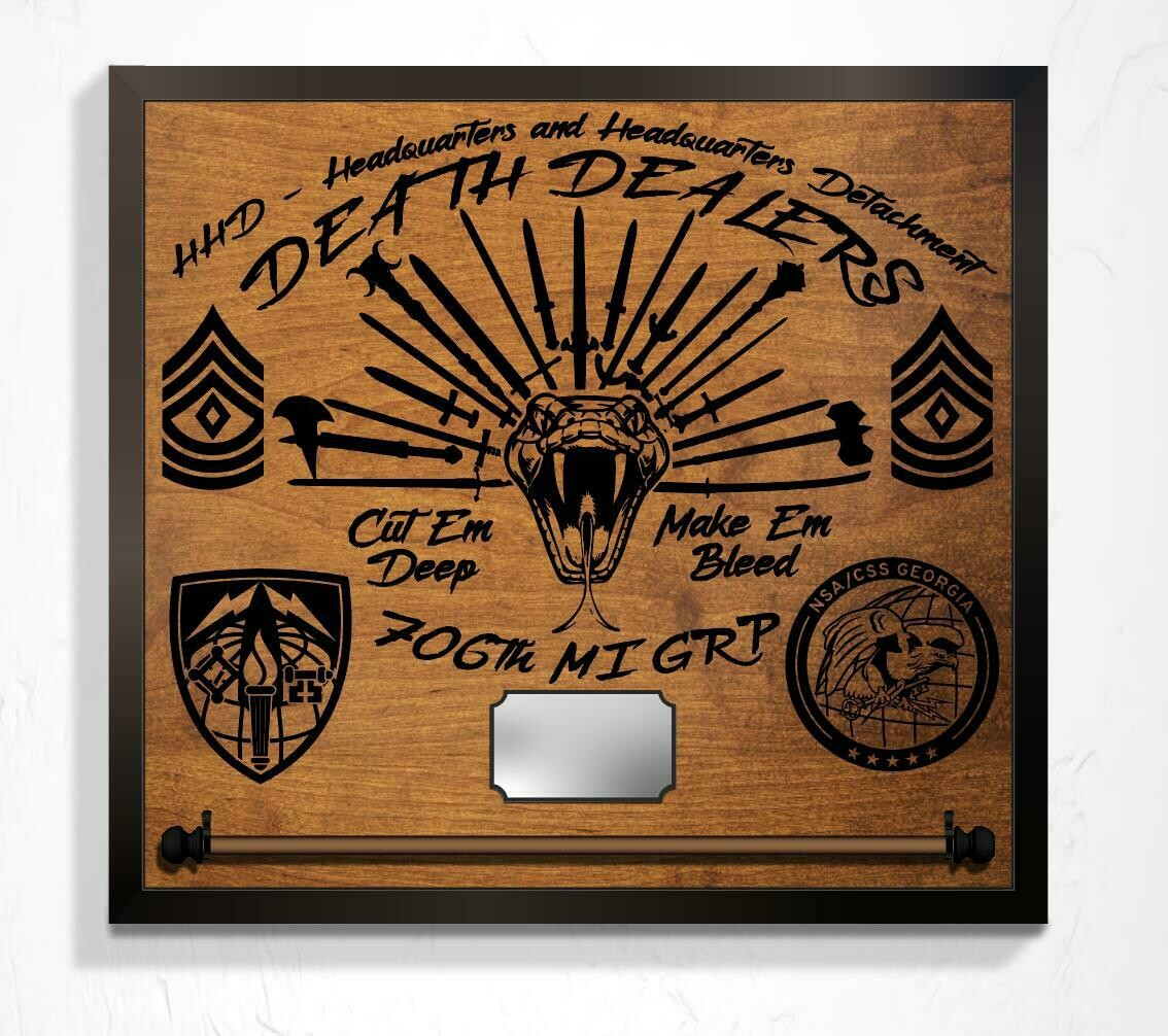 "Deathdealers 706th MI GRP - Plaque 25"" x 23"""