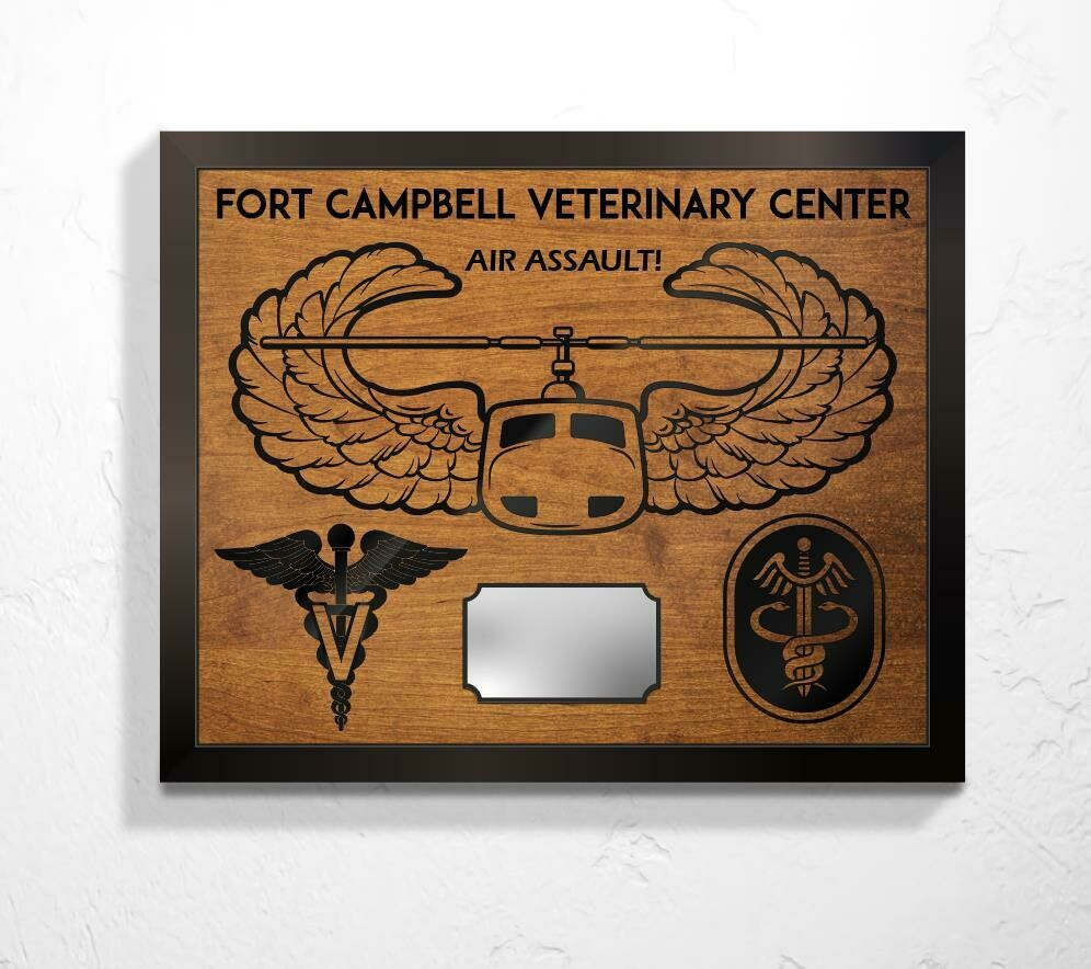 "Fort Campbell Veterinary Center Plaque 20.5""x16.5"""