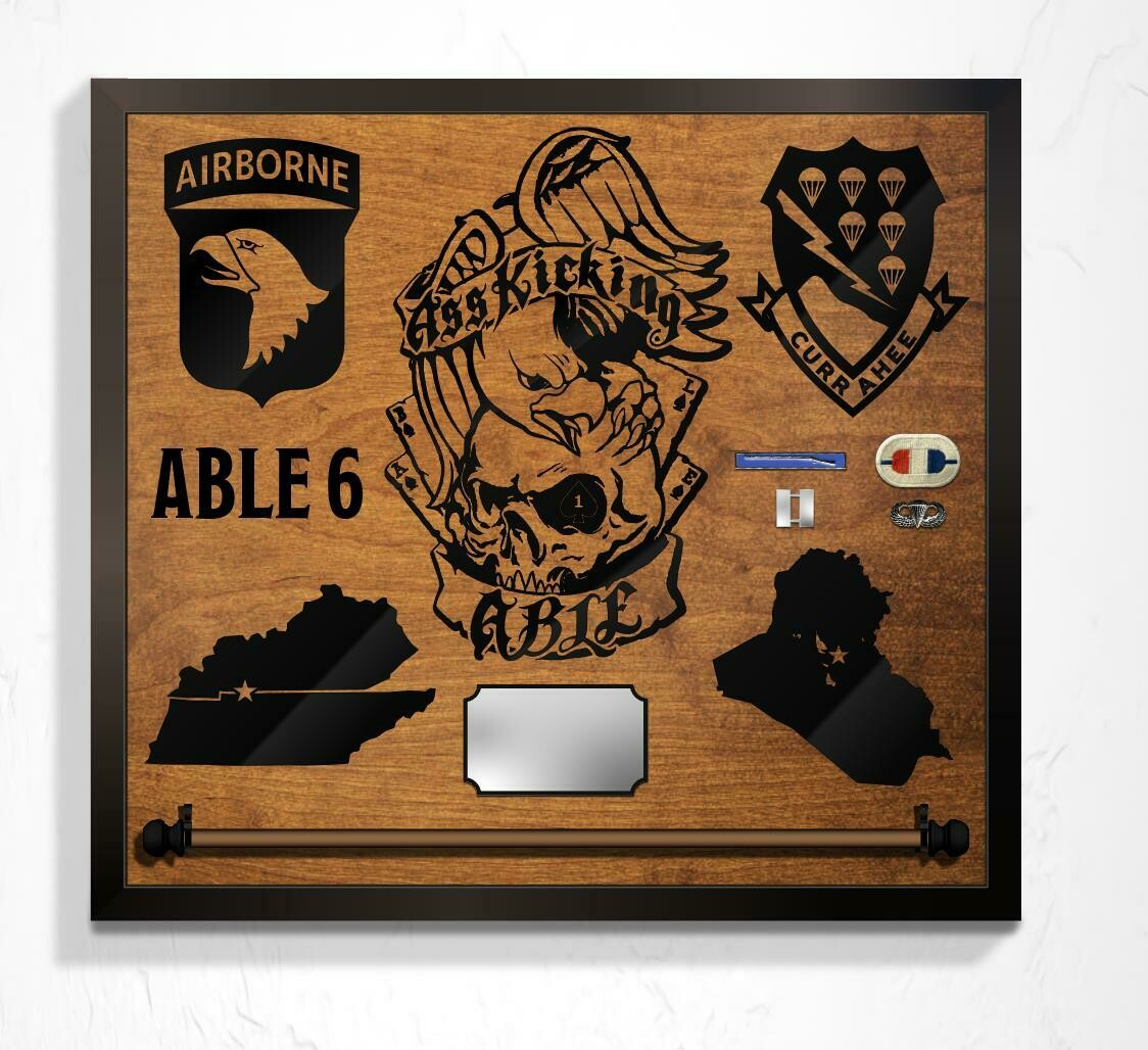 """A Co 1-506th INF, Guidon Mount and Custom Callsign Plaque - 25"""" x 23"""""""