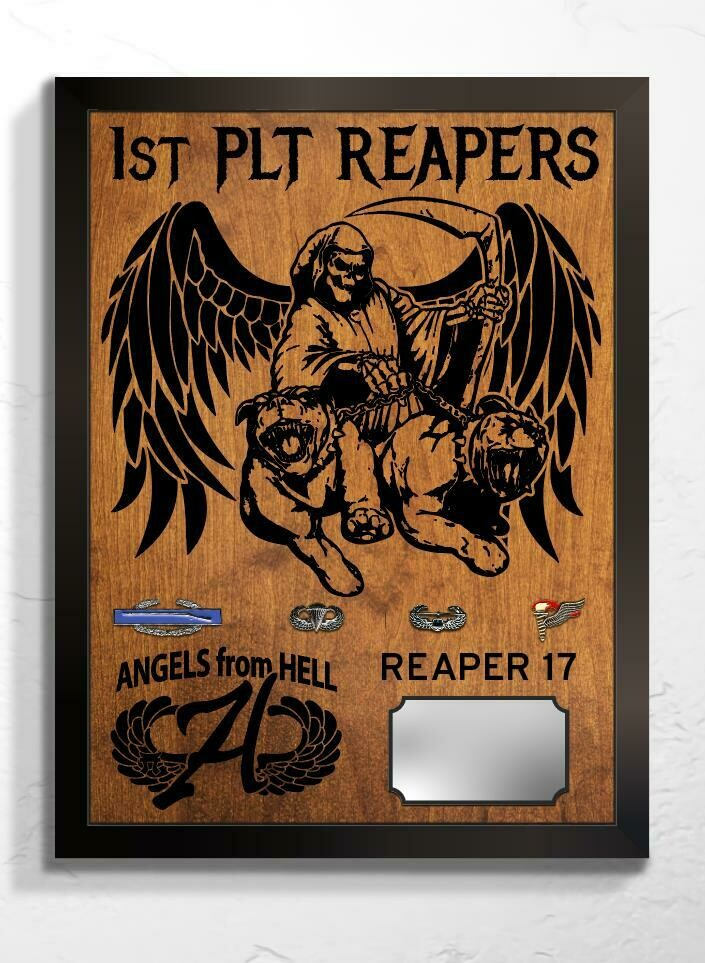 "Reaper Platoon, Angel Co., 3-187th IN Plaque - 20.5""x16.5"""