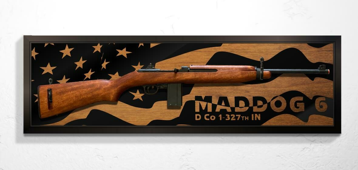 "Rifle Mount Flag Plaque with Callsign - 39""x12"""