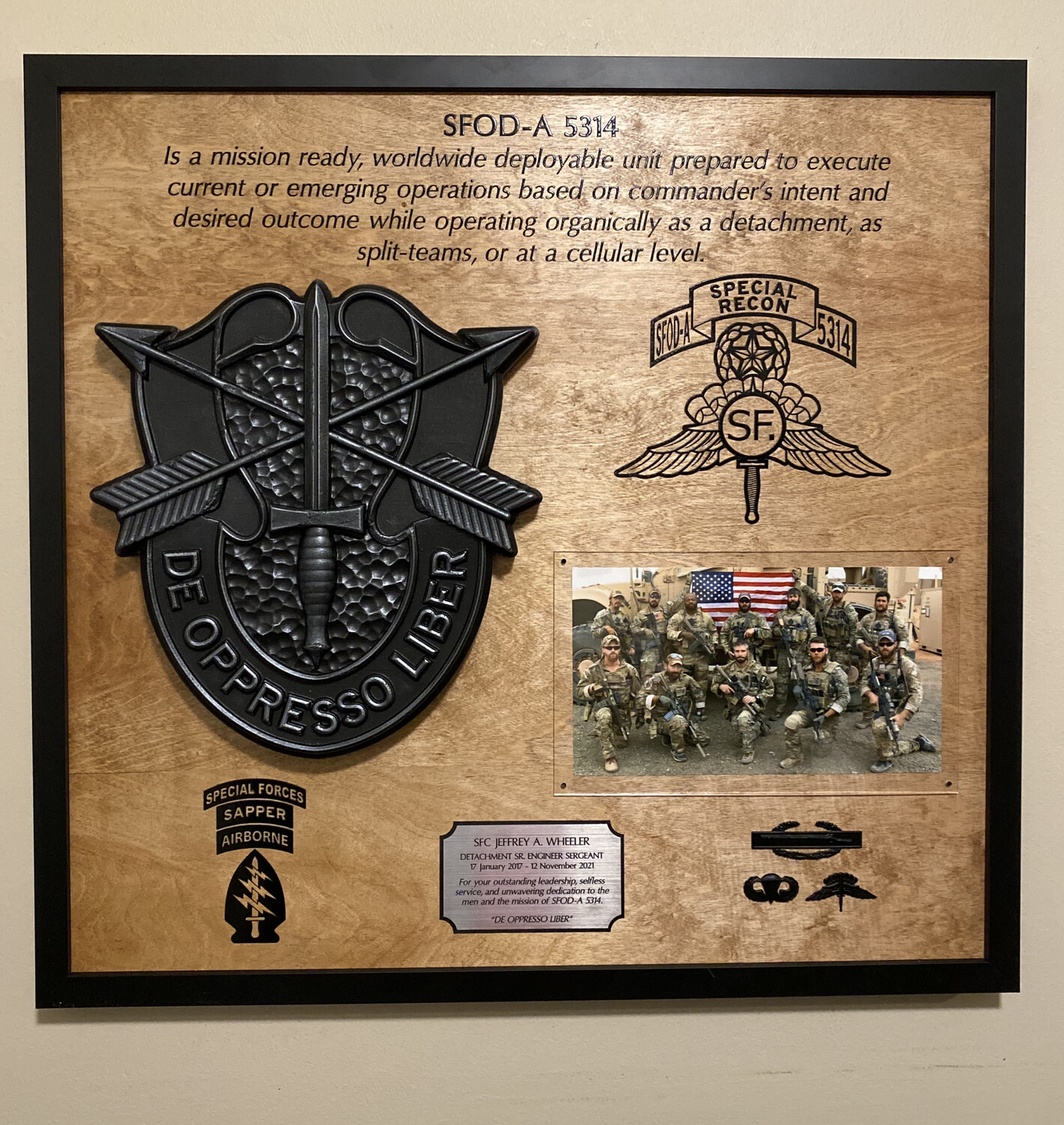 """5th Special Forces Group (Abn) - Photo Mounting Plaque 26.5""""x25.5"""""""