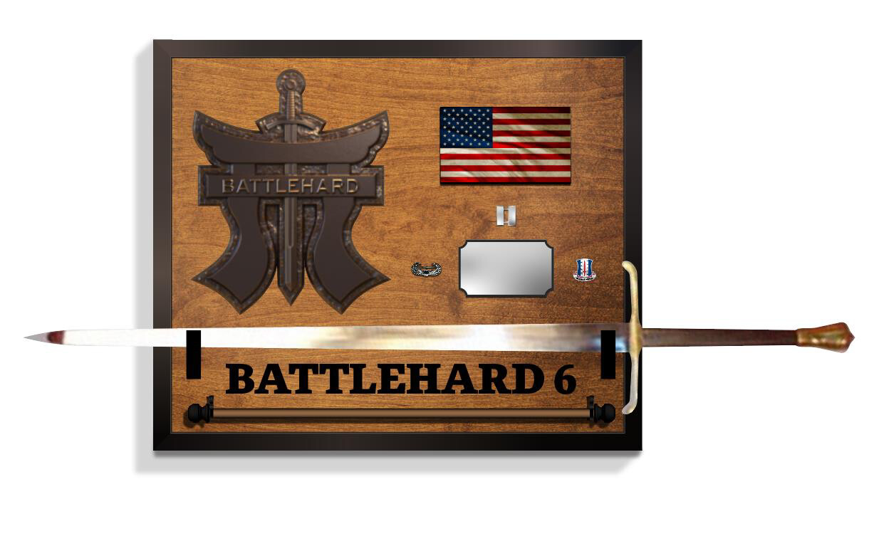 "Battlehard 3-187th Sword And Guidon Mounting Plaque 26""x22"""