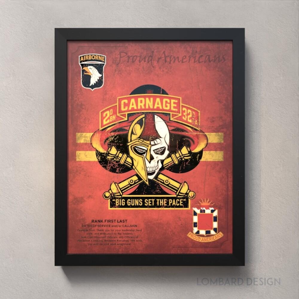 "Carnage Btry 2-32 FA Plaque - 20.5""x16.5"""