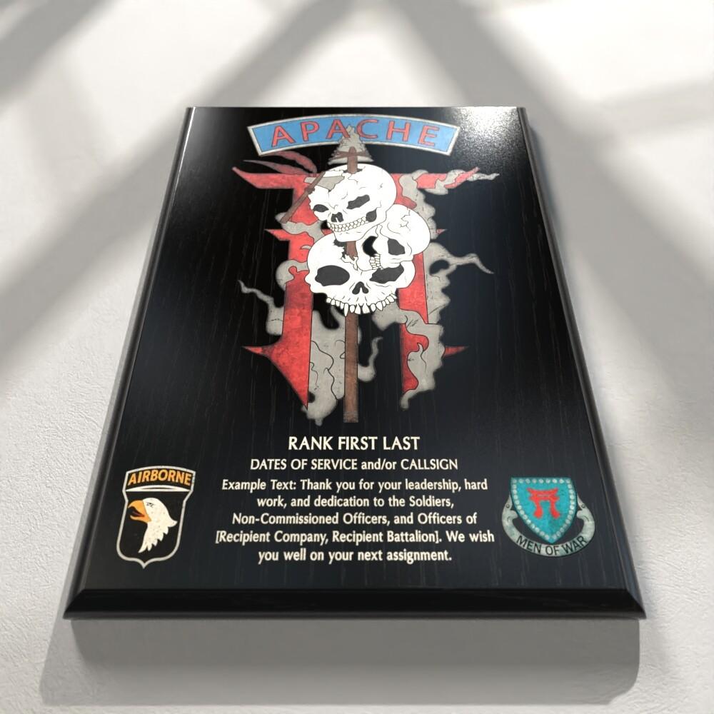 "Apache Troop 1-33 CAV Plaque - 9""x12"""