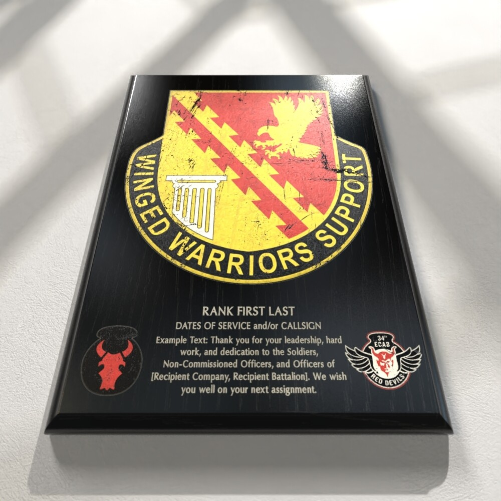 "834th Support - 9""x12"" Plaque"