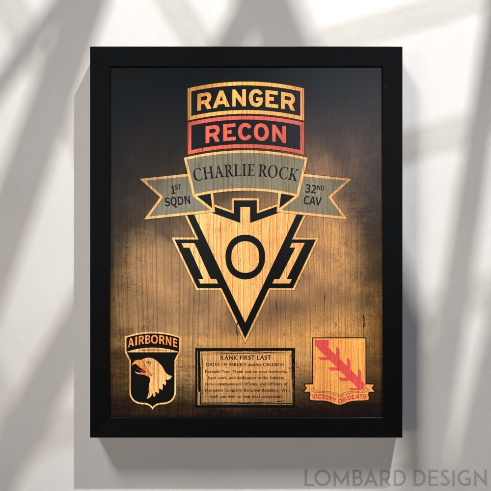 """Charlie Rock 1-32 CAV Plaque - Stained - 20.5""""x16.5"""""""