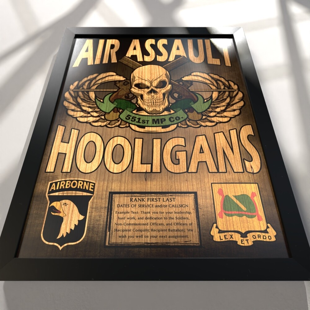 "551st MP Co Hooligans Plaque - Stained - 20.5""x16.5"""