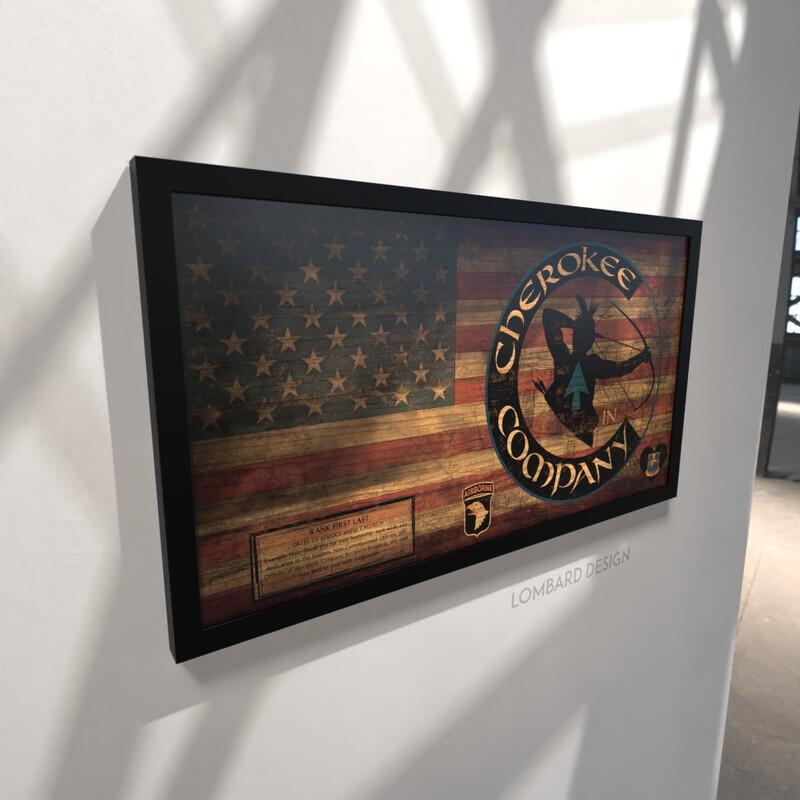 """C Co. """"Cherokee"""" 1-26 IN Rustic Flag Plaque - 28.5""""x15.75"""""""
