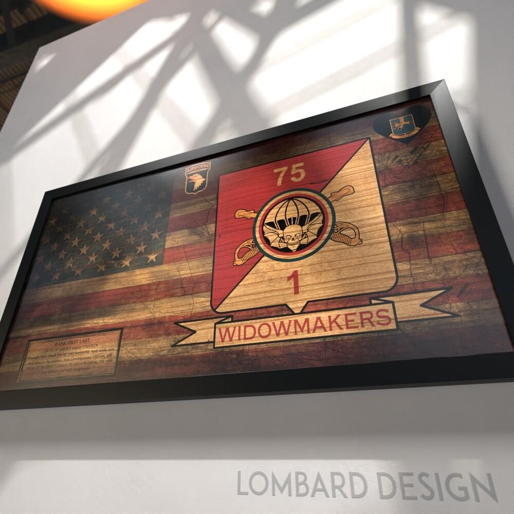 "1-75 CAV ""Widowmakers"" Rustic Flag Plaque - 28.5""x15.75"""