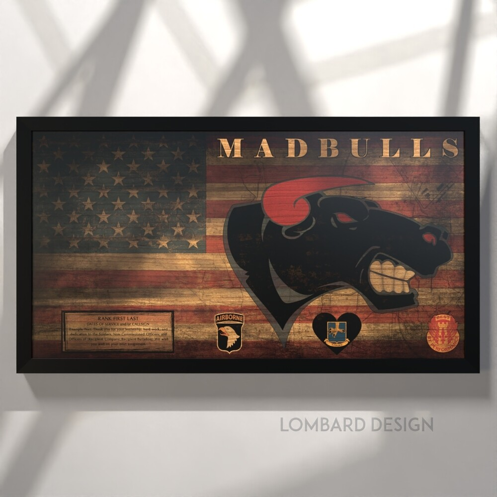 "B Co ""Madbulls"" 526 BSB Rustic Flag Plaque - 28.5""x15.75"""