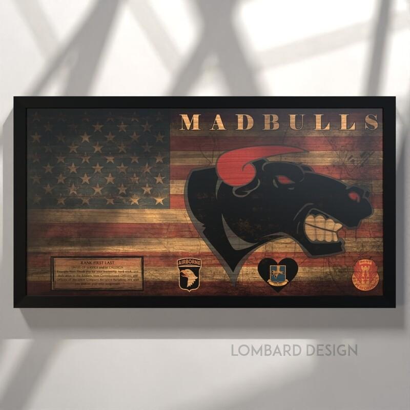 """B Co """"Madbulls"""" 526 BSB Rustic Flag Plaque - 28.5"""