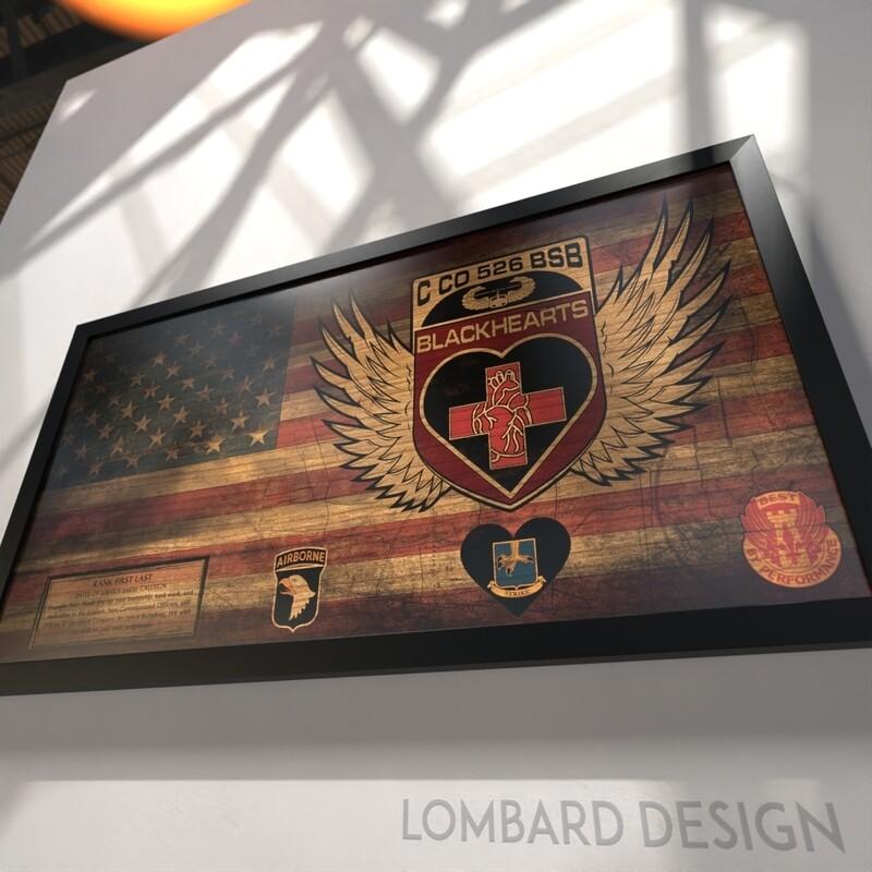 """C Co """"Blackhearts"""" 526 BSB Rustic Flag Plaque - 28.5""""x15.75"""""""