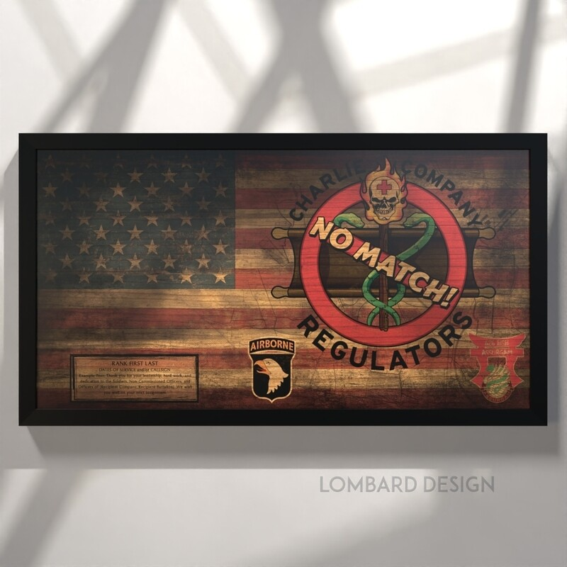 """C Co """"Regulators"""" 626 BSB Rustic Flag Plaque - 28.5""""x15.75"""""""