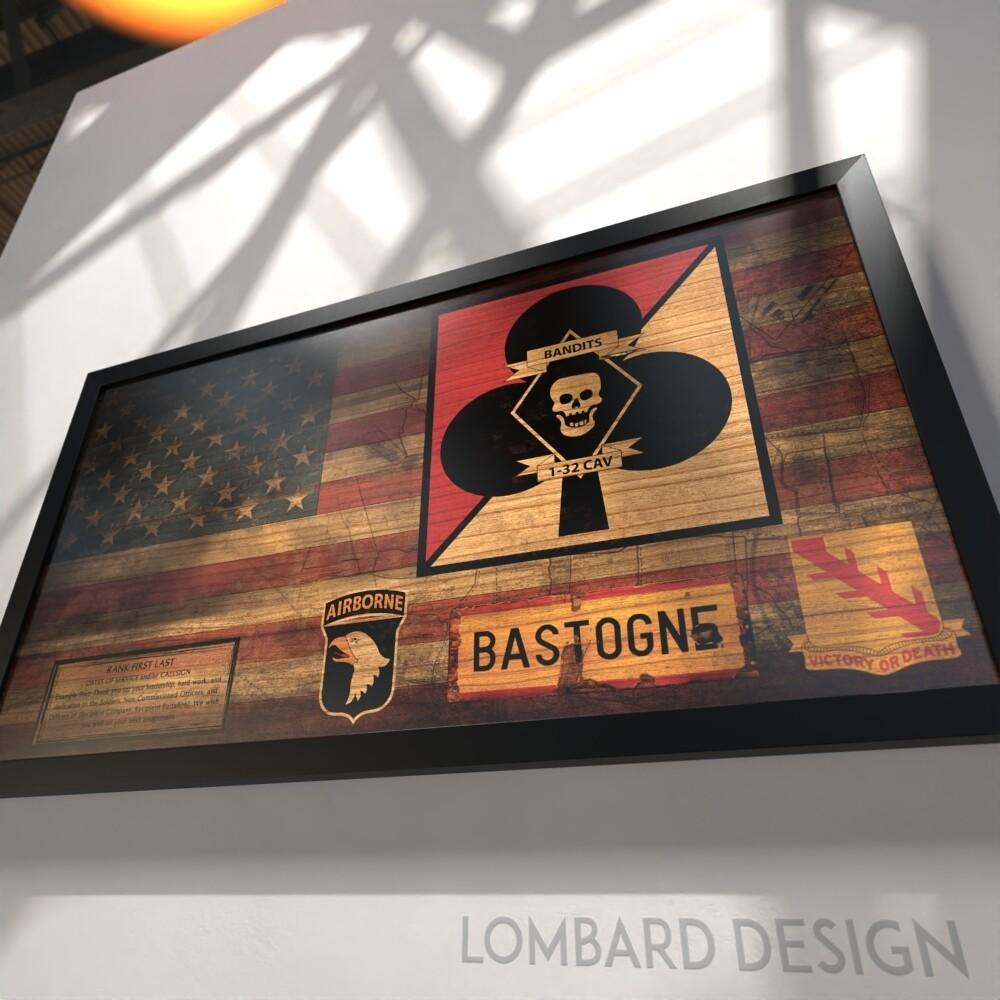 """1-32 CAV""""Bandits"""" Rustic Flag Plaque - 28.5""""x15.75"""""""