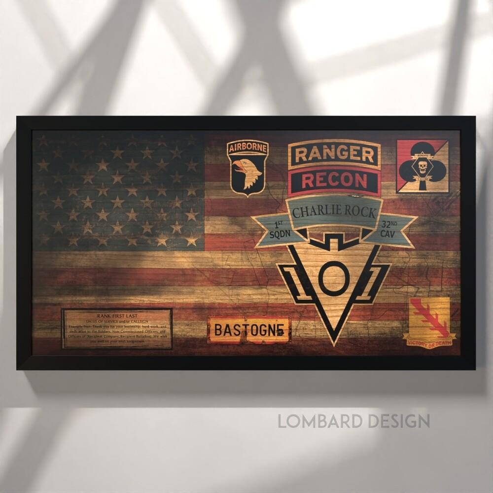 "C Trp ""Charlie Rock"" 1-32 CAV Rustic Flag Plaque - 28.5""x15.75"""