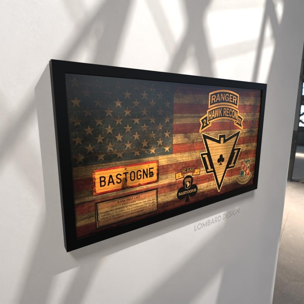 """Hawk Recon 2-327th IN Rustic Flag Plaque - 28.5""""x15.75"""""""