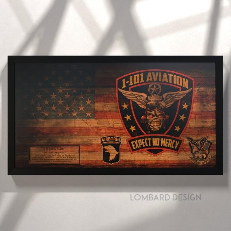 1-101 AVN REGT Rustic Flag Plaque - 28.5