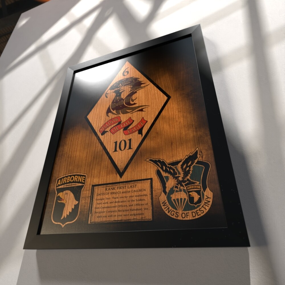 "6-101 AVN REGT Stained Wood Plaque- 16.5""x20.5"""