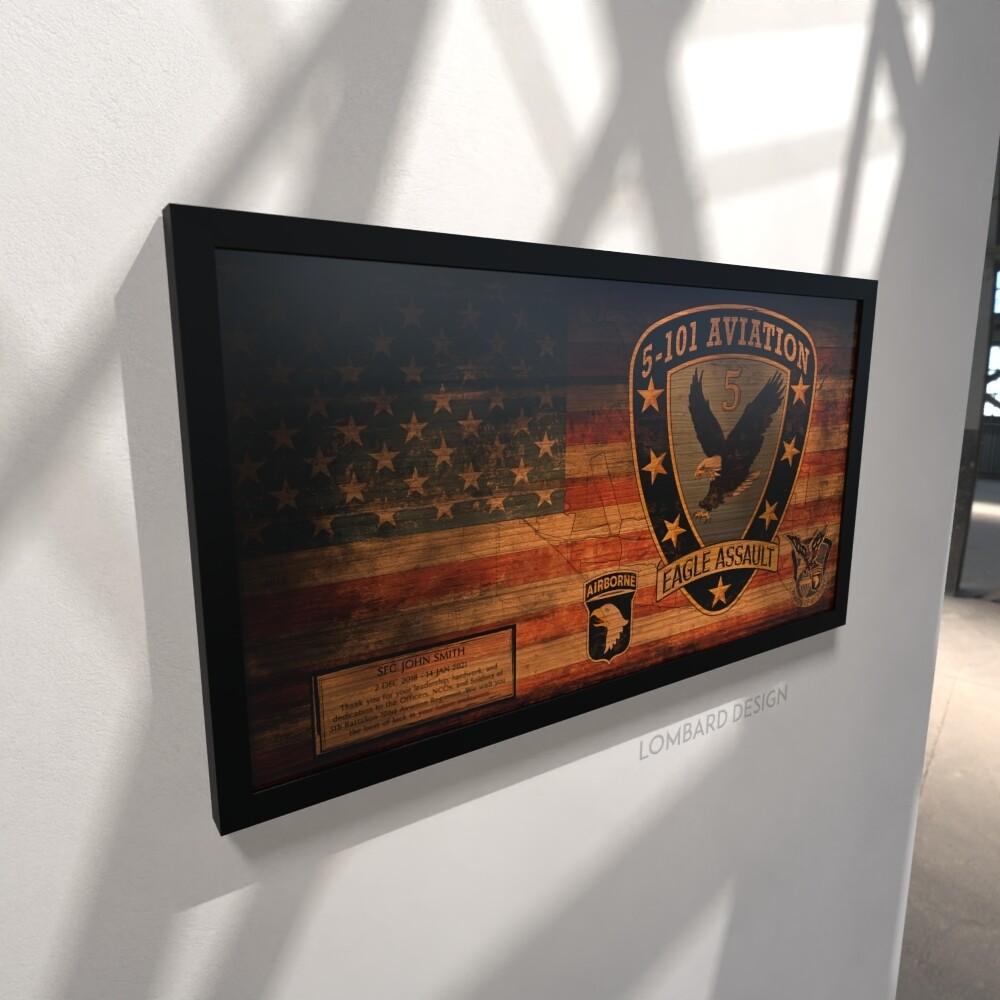 "5-101 AVN REGT ""Eagle Assault"" Rustic Flag Plaque - 28.5""x15.75"""