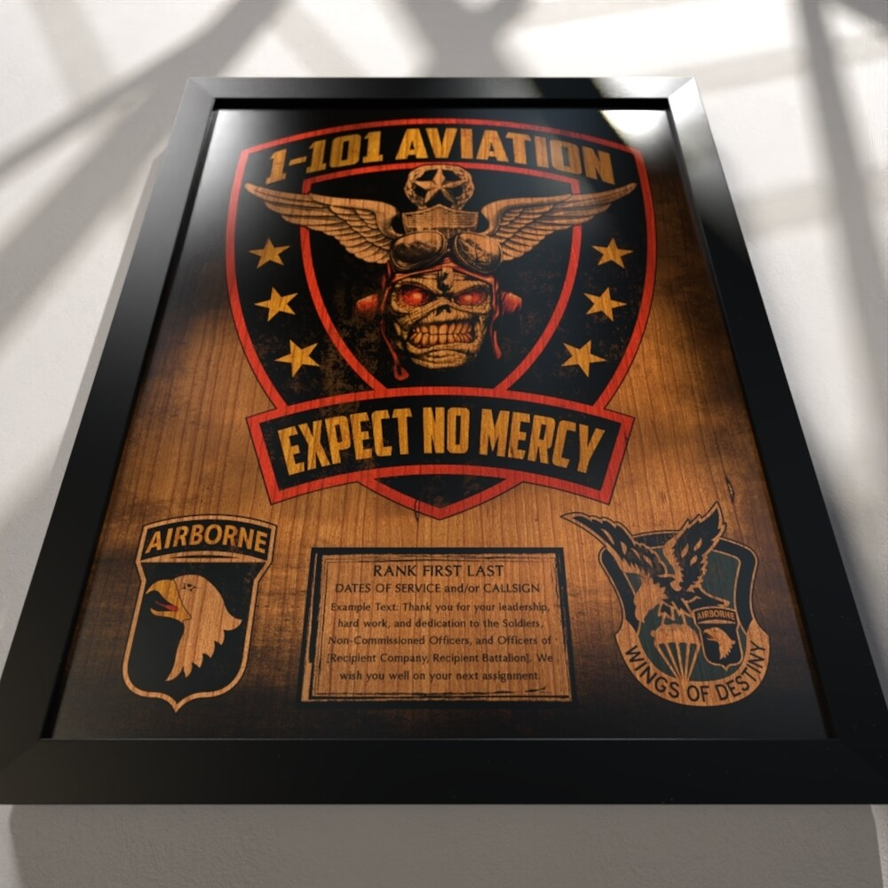 """1-101 AVN REGT Stained Wood Plaque- 16.5""""x20.5"""""""
