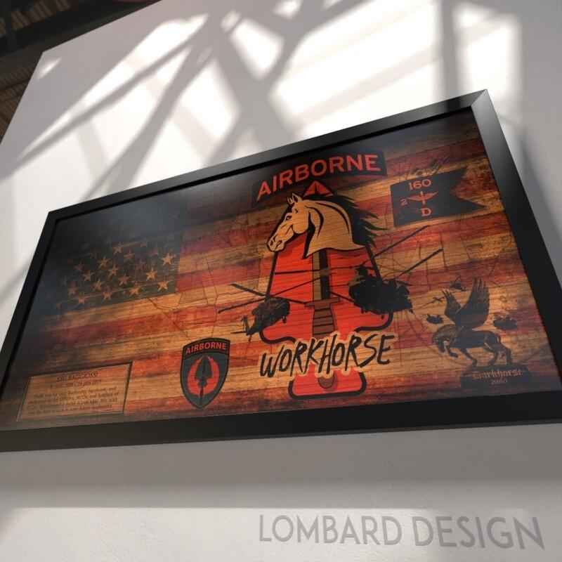 "D Co ""Workhorse"" 2-160th SOAR(Abn) Rustic Flag Plaque - 28.5""x15.75"""