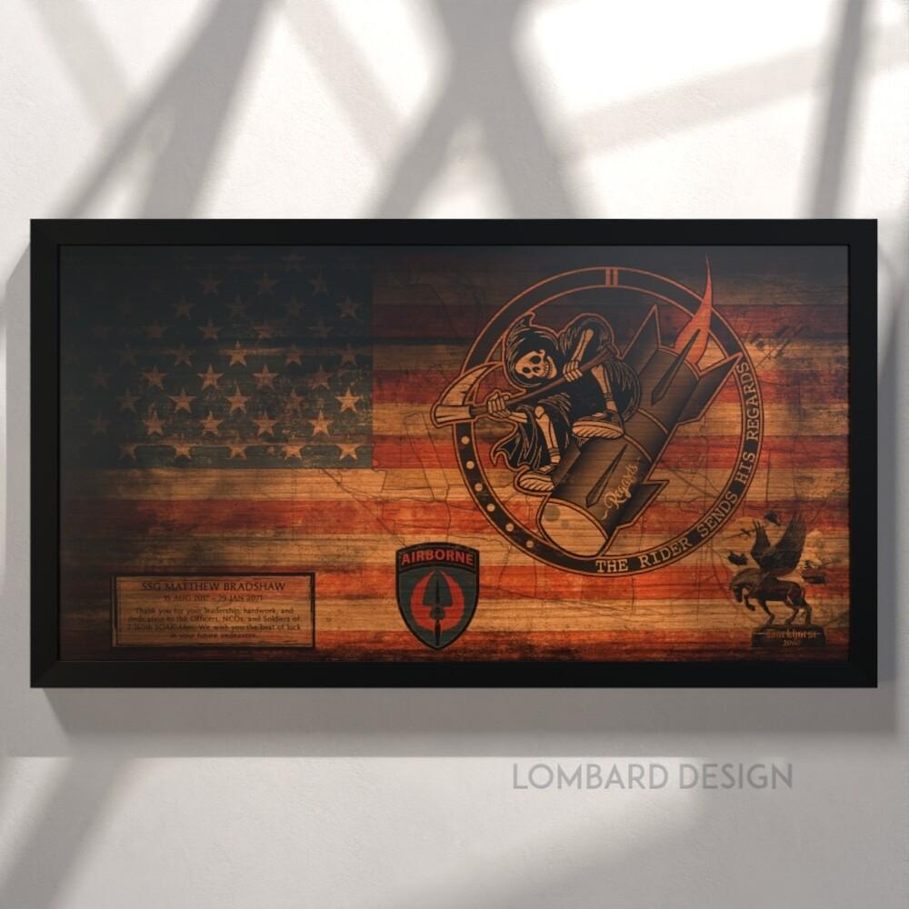"""2-160th SOAR(Abn) Rustic Flag Plaque - 28.5""""x15.75"""""""