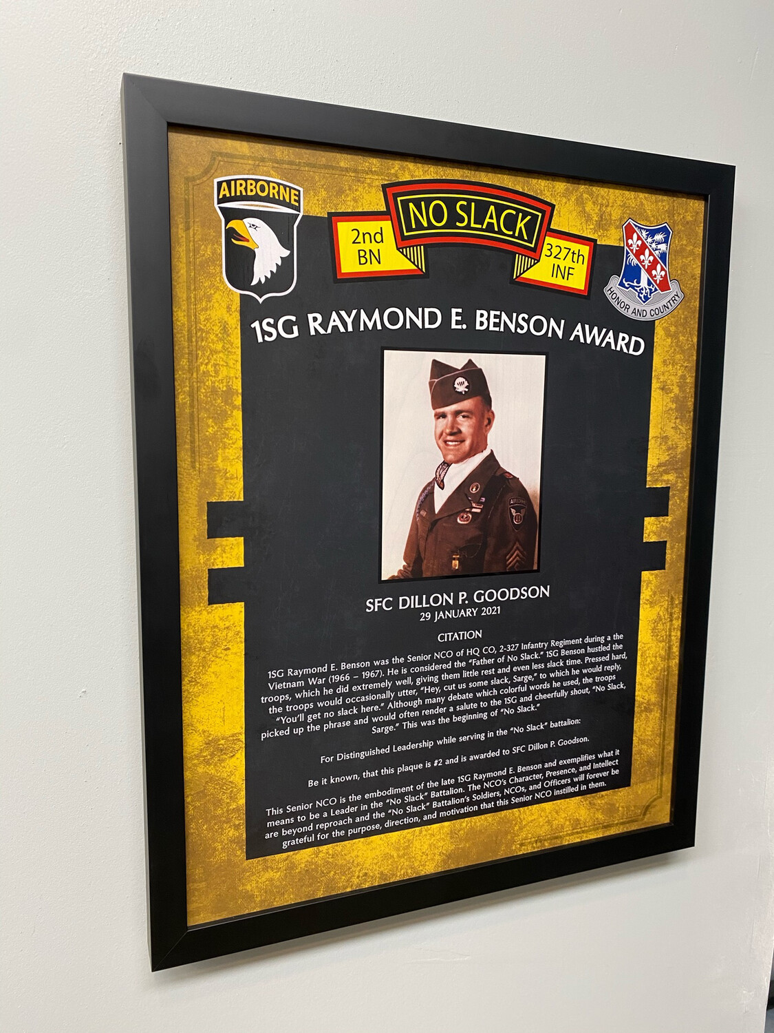 "Raymond E. Benson Award 2-327th Plaque - 20.5""x16.5"""