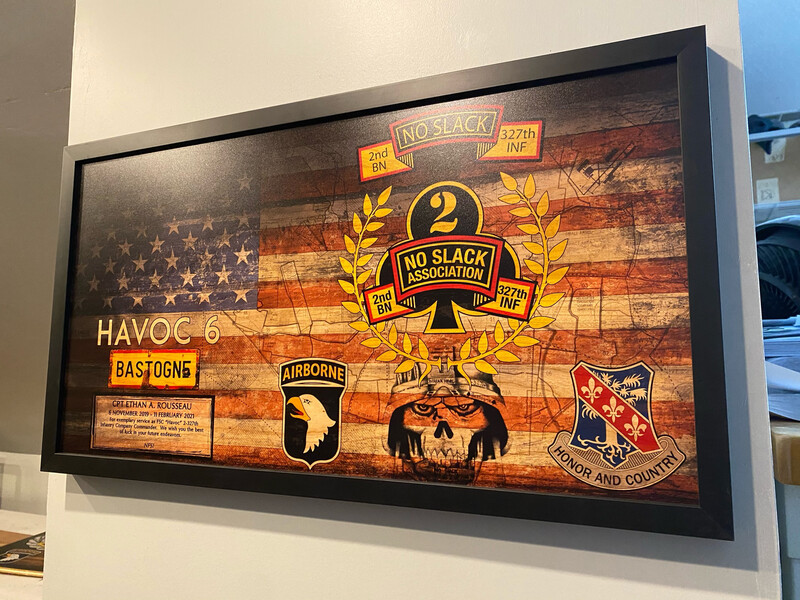 "FSC ""Havoc"" 2-327th ASSN. Rustic Flag Plaque - 28.5"