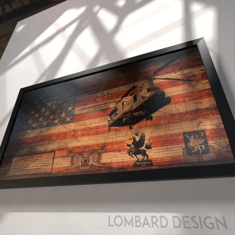 """B Co """"Badboyz"""" 2-160th SOAR(Abn) Rustic Flag Plaque - 28.5""""x15.75"""""""