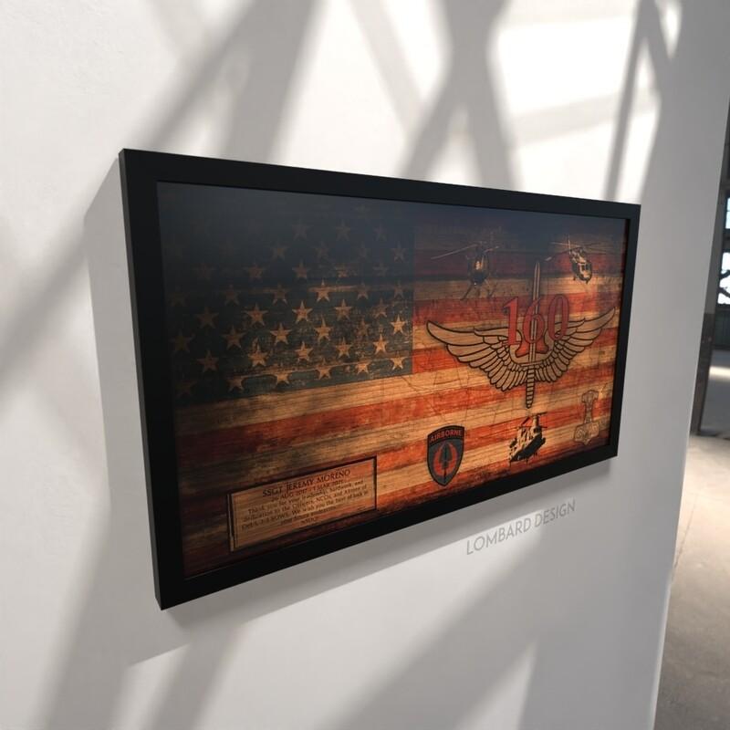 """Detachment 1 23 SOWS Rustic Flag Plaque - 28.5""""x15.75"""""""