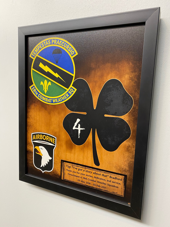"4th Det. 18th Combat Weather Squadron Wood Plaque 13""x11"""
