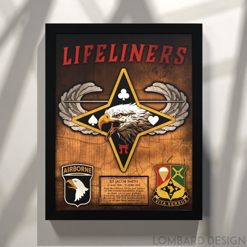 101st Division Sustainment Brigade Plaque - Stained - 16.5