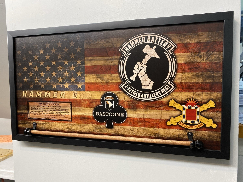 "Hammer Battery 2-32 FA Rustic Flag Plaque - 28.5""x15.75"""