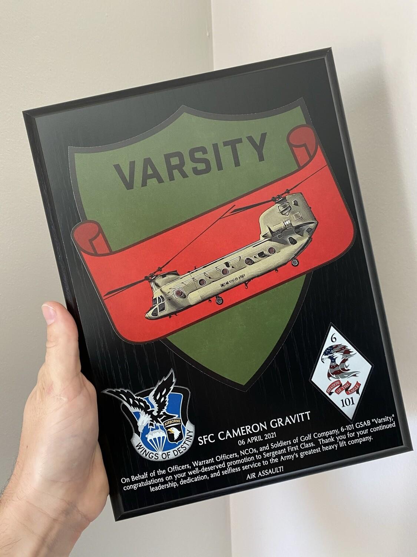 "G Co Varsity 6-101 AVN - 9""x12"" Plaque"