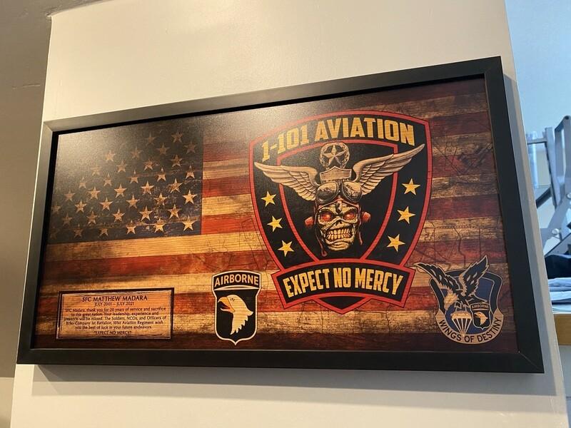 "1-101 AVN REGT Rustic Flag Plaque - 28.5""x15.75"""