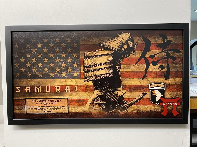 "HHC 3BCT ""Saumrai"" Rustic Flag Plaque - 28.5""x15.75"""