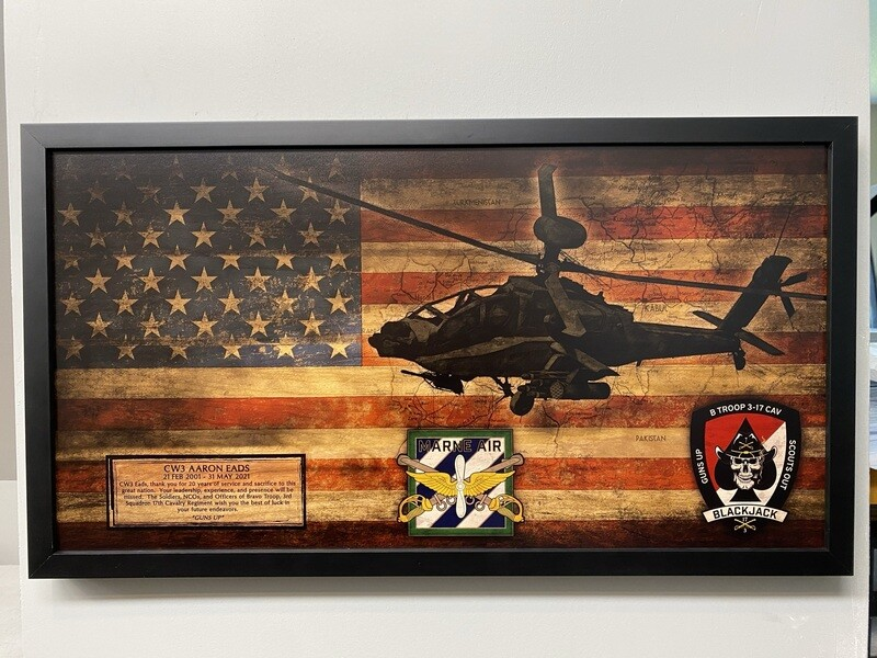 """B TRP """"Blackjack"""" 3-17 CAV Rustic Flag Plaque - 28.5""""x15.75"""""""