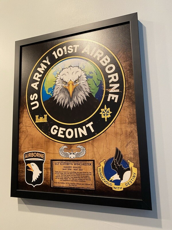 """101st Airborne GEOINT Wood Plaque - 16.5""""x20.5"""""""