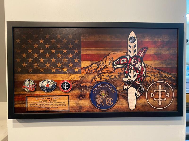 """4-160th SOAR(Abn) Rustic Flag Plaque - 28.5""""x15.75"""""""