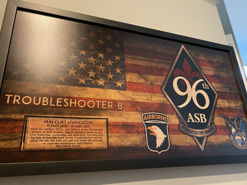 """96th ASB Troubleshooters Rustic Flag Plaque - 28.5""""x15.75"""""""