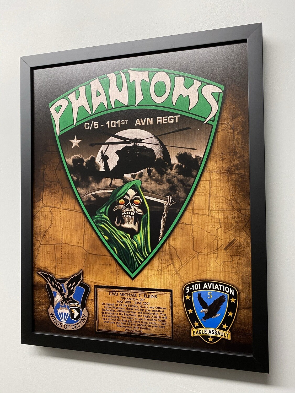 "C Co ""Phantoms"" 5-101 AVN Wood Plaque - 16.5""x20.5"""