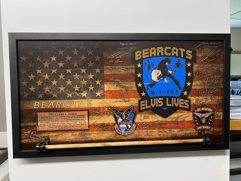 "B Co ""Bearcats"" 1-101 AVN Rustic Flag Plaque - 28.5""x15.75"""