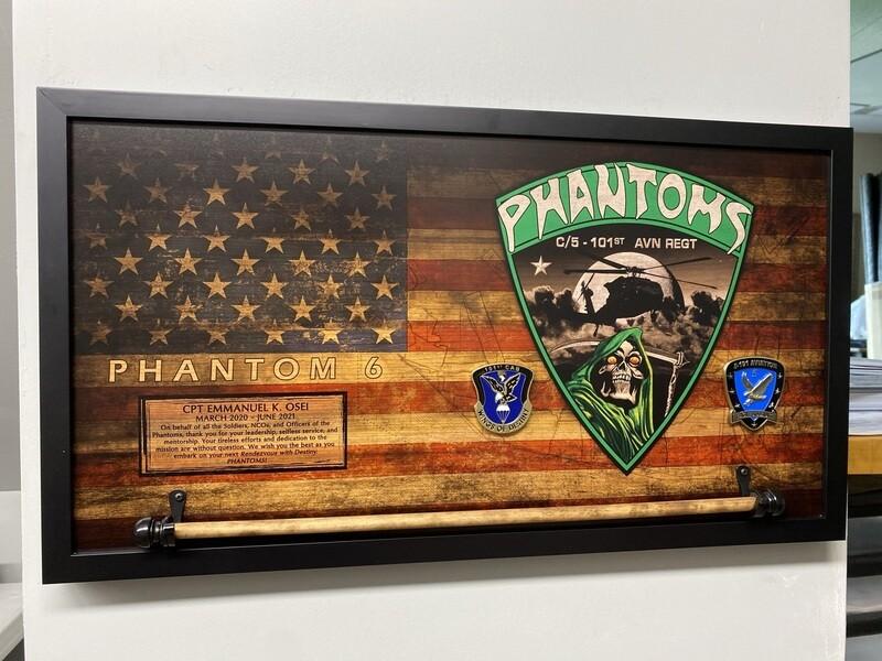 """C Co """"Phantoms"""" 5-101 AVN Rustic Flag Plaque - 28.5""""x15.75"""""""