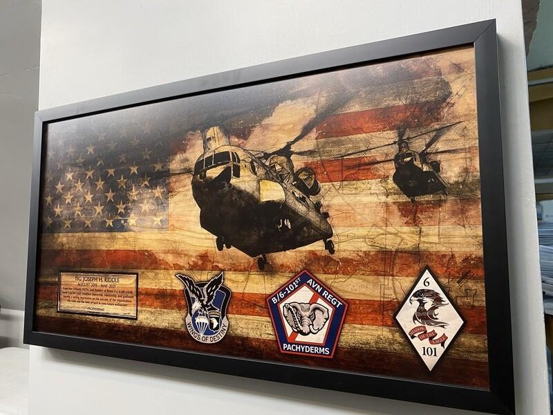 "B Co ""Pachyderms"" 6-101 AVN Rustic Flag Plaque - 28.5""x15.75"""