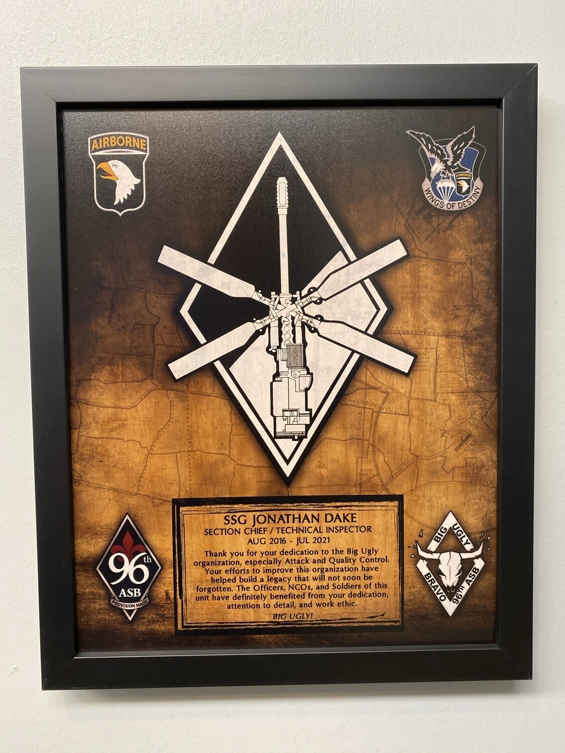 """B Co 96th ASB """"Attack"""" Wood Plaque - 11""""x13"""""""