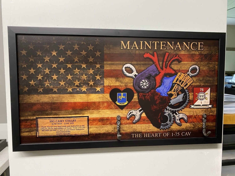 "Maintenance 1-75 CAV ""Widowmakers"" Rustic Flag Plaque - 28.5""x15.75"""