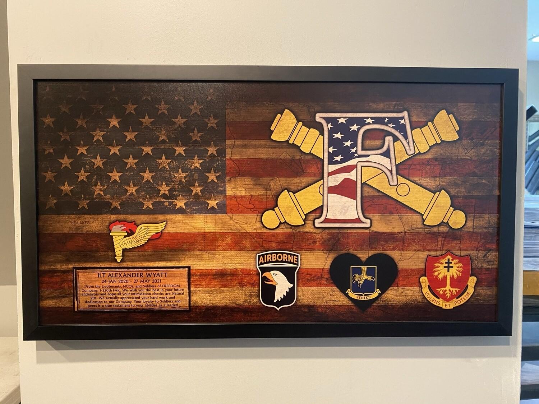 "F Co ""Freedom"" 1-320th FA Rustic Flag Plaque - 28.5""x15.75"""