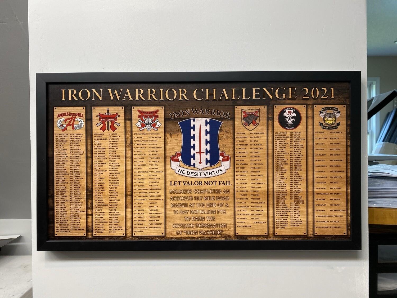 """Iron Warrior Plaque - 28.5""""x15.75"""""""